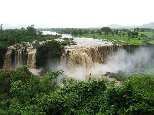 River waterfall cliffs Grand Ethiopian Renaissance Dam project