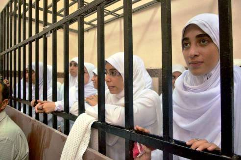 Women and girl protesters behind bars in Alexandria, Egypt