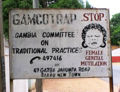 Stop FGM sign in Gambia, Africa