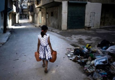 Syrian girl on streets in Aleppo