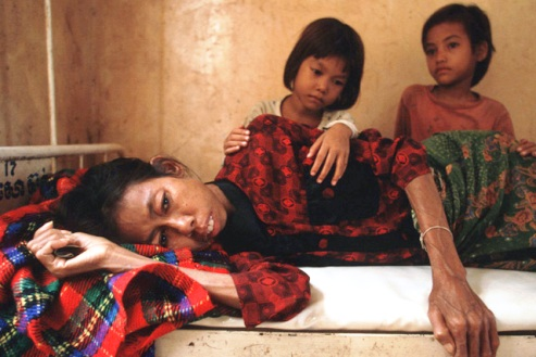 Woman dying of AIDS in Cambodia