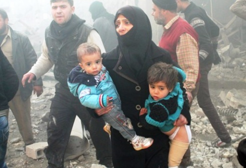 Syrian mother and child under bombing