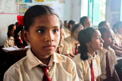 School girl in Kolkata, West Bengal, India