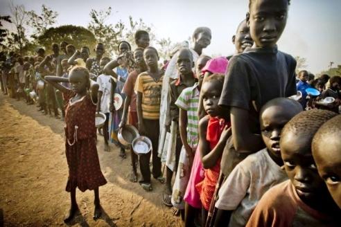 Displaced South Sudanese children in Uganda refugee camp