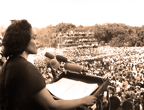 Coretta Scott King speaks at March on Washington June 19, 1968