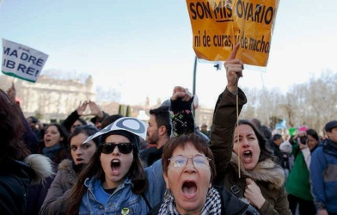 Women rally for reproductive rights in Spain