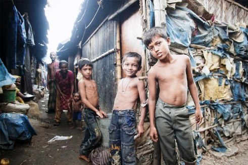 Slum children in Dhaka, Bangladesh