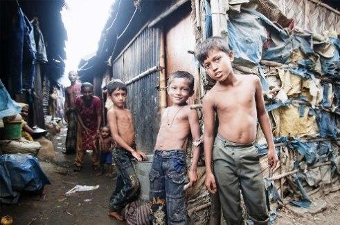Slum children in Dhaka, Bangladesh
