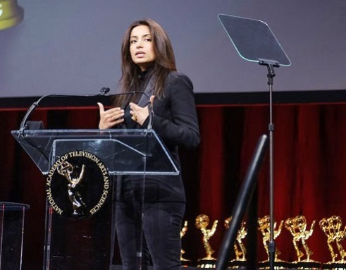 Deeyah accepting her Emmy Award
