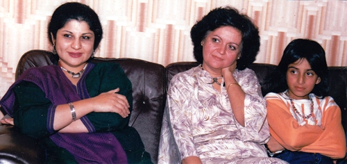 A young Deeyah with Pakistani feminist artists and activis Ms Salima Hashima and Nazish Ara Ullah