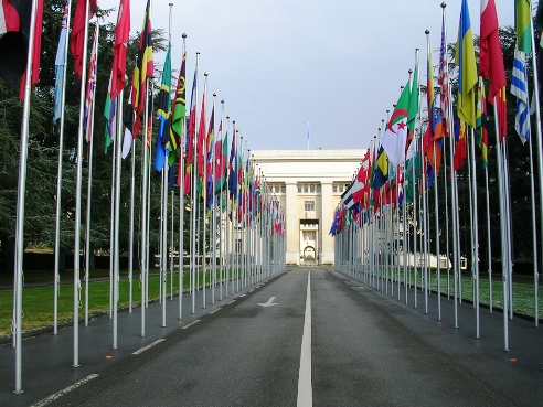 Flags on entrance to UN Human Rights Council Geneva
