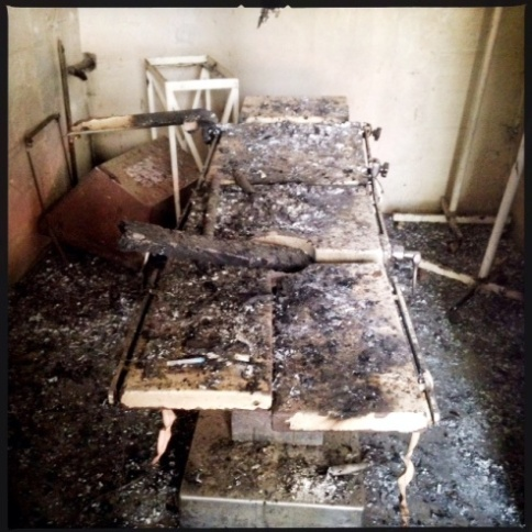 Leer hospital clinic burned operating table