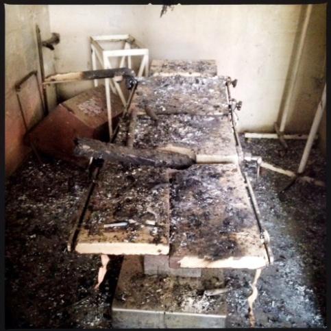 Leer hospital clinic burned operating table