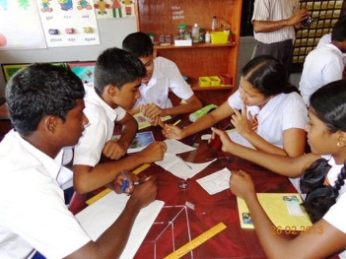 Boys and girls students study math in Sri Lanka