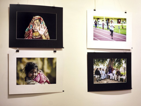 A photo array depicting Pakistani women