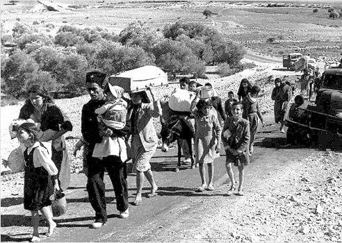 Palestinian refugees fleeing Galilee 1948