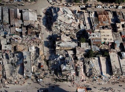 Aerial view of Port-au-Prince, Haiti earthquake destruction