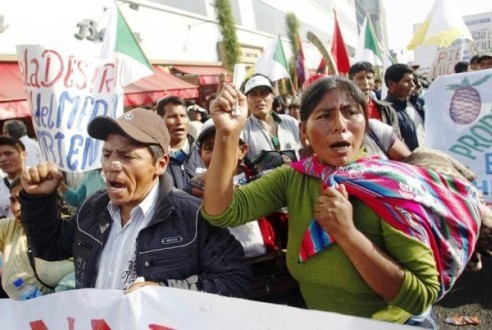 Lima, Peru land rights protesters