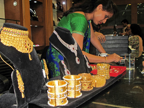 Woman working in a jewerly store