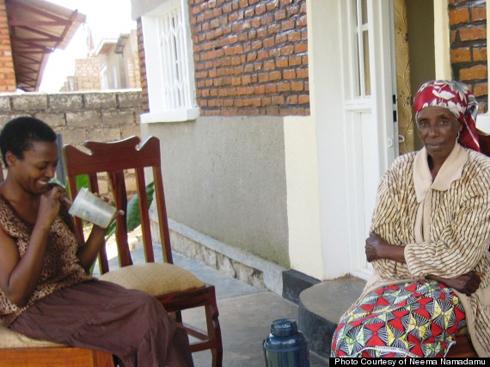 Neema Namadamu and her mom Polline sitting outside