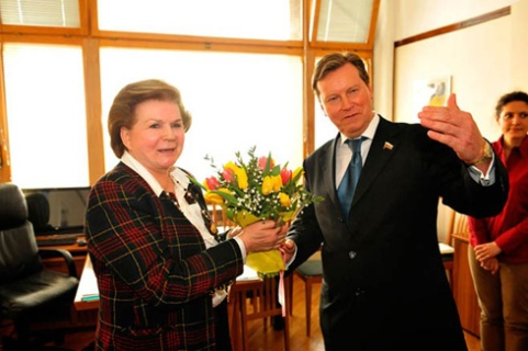 Deputy Oleg Nilov and Valentina Tereshkova