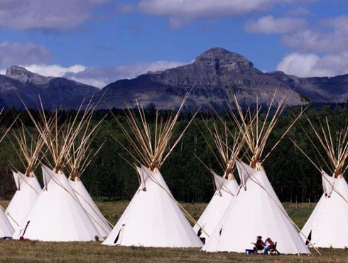 after setting up tepees at the World Indigenous Peoples Conference