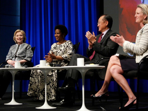 Former U.S. Secretary of State Hillary Clinton, UN Women Executive Director Phumzile Mlambo-Ngcuka, World Bank Group President Jim Yong Kim, and Council on Foreign Relations Senior Fellow Isobel Coleman