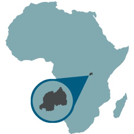Map showing location of Rwanda, Africa