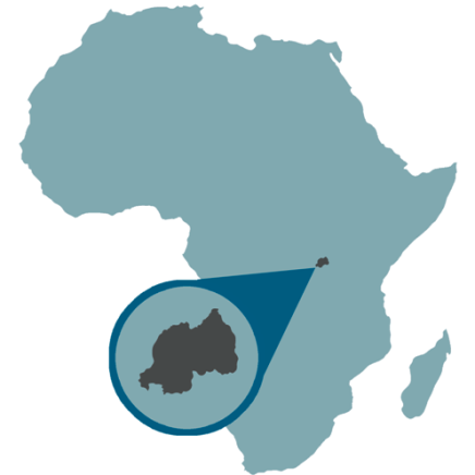 Map showing location of Rwanda, Africa