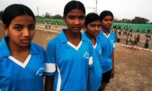 Four Tribal and Dalit girl football champions, Maharashtra Jalna disctrict India