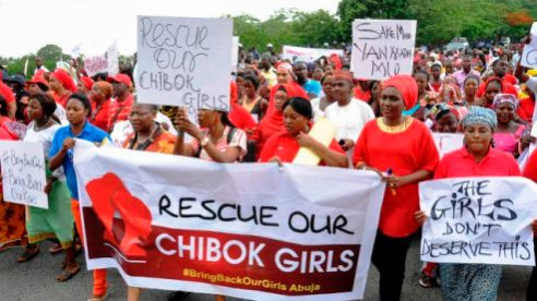 Mothers of Boko Haram kidnapped girls street rally