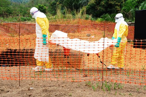 Burial of ebola patient in Guinea, Africa