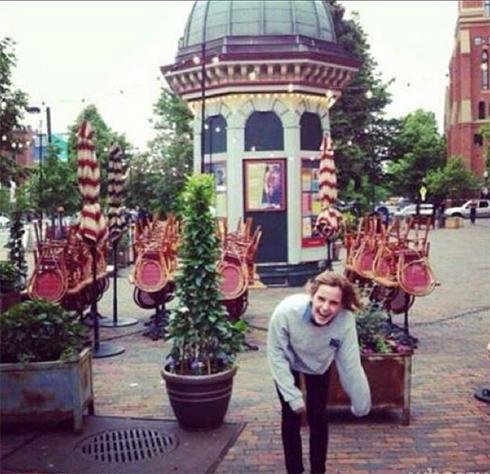 Emma Watson laughing on public street