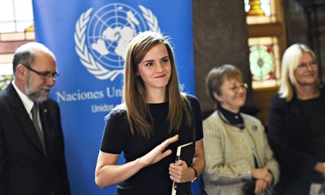 Actor and UN goodwill ambassador Emma Watson at an event petitioning for an increased number of women in the Uruguayan parliament. Image: Rex Features