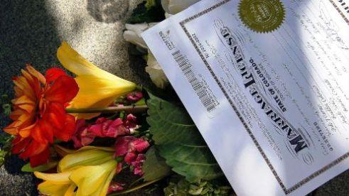 Flowers and marriage license Boulder, Colorado, U.S.