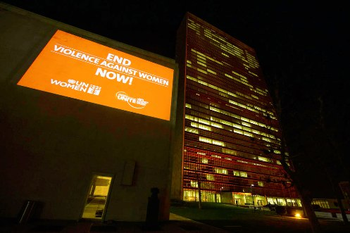Orange Your Neighborhood Campaign banner at UN