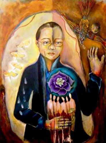 Painting of poet Liu Xia who is wife of Chinese Nobel Peace Laureate Liu Xia88. Image: Kate Langlois