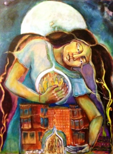 Painting of a woman artist as the healer of the world. Image: Kate Langlois