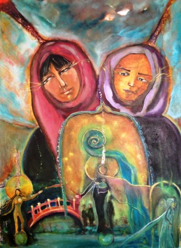 Kate Langlois painting of Saudi women activists