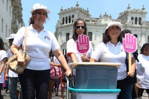 Women protesters on streets of Lima, Peru