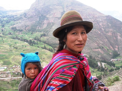 Peruvian mother and child in the Andes