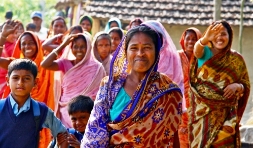 Women farmers together during an empowerment training in the Sundarbans region of West Bengal, India.