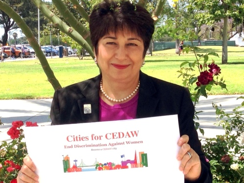 Elahe Amani with Cities for CEDAW poster