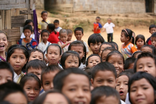 Children at the Ban Tractor refugee camp on the Thai/Myanmar border. Decades of conflict in Myanmar has led to forced displacement. (Photo: Gary Moore)