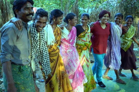 A lighter moment in reporting - Joining men and woman of a forest tribe in a dance in Eastern ghat mountain of India